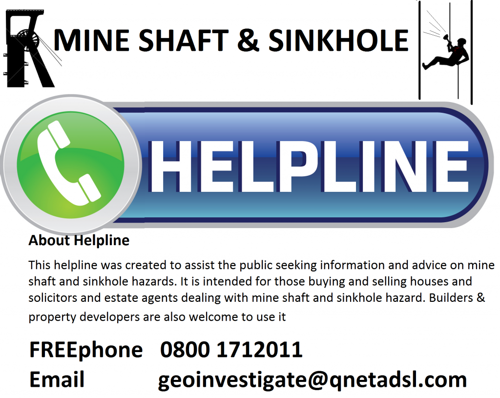 Geoinvestigate Helpline proviudes free advice on hazrds from mine shafts, mine working