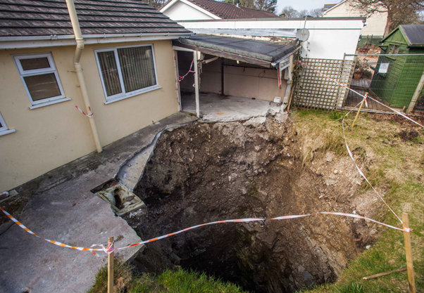 Collapse of tin mine shaft. The property was for sale and unoccupied