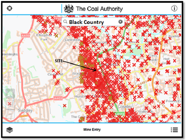 RED crosses are mine shafts recorded on the Coal Authority data base