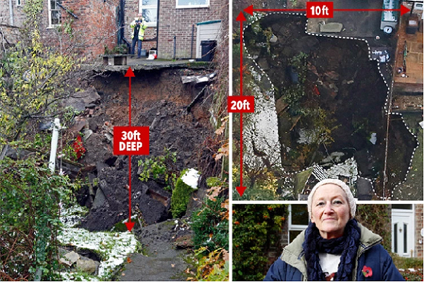 Frances O'Neills lucky escape from falling into a gypsum sinkhole which suddenly collapsed in Ripon in 2016